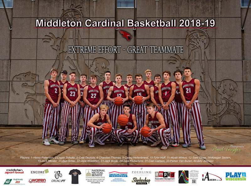 Middleton sports poster for Cardinal Basketball Team by professional  photographer, Paul Toepfer, with Paul Toepfer Photography. Paul Toepfer is a premiere high school senior portrait photographer for Verona High School, Middleton High School, Mt. Horeb High School, Monona Grove High School, Memorial High School, Edgewood High School, East high School, West High School, LaFollette High School, Waunakee High School and Sun Prairie High School.