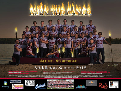 2018 Middleton Cardinal Football Poster, high school seniors, Sponsored by Discovery water management, Dunkin' Donuts, Wrench Auto Service, Little Red Pre-School, Culver's, Malibu Pools, Simon, Red's Pool, Ad Press
