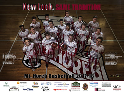 Mount Horeb 2017-2018 Basketball Poster designed by Professional Photographer and Designer Paul Toepfer.