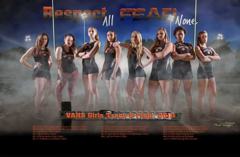VAHS Wildcats sports poster for Verona Track & Field Team by professional  photographer, Paul Toepfer, with Paul Toepfer Photography. Paul Toepfer is a premiere high school senior portrait photographer for Verona High School, Mt. Horeb High School, Middleton High School, Monona Grove High School, East High School, West High School, Edgewood High School, Memorial High School, LaFollette High School, Waunakee High School and Sun Prairie High School.