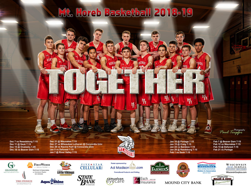 Mt Horeb professional sports poster for their Basketball Team by professional  photographer, Paul Toepfer, with Paul Toepfer Photography. Paul Toepfer is a premiere high school senior portrait photographer for Mt Horeb High School, Middleton High School, Waunakee High School, Verona High School, Monona Grove High School, Memorial High School, Edgewood High School, East high School, West High School, LaFollette High School, Edgerton High School and Sun Prairie High School.